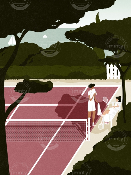 Man and woman taking a water break after playing tennis.