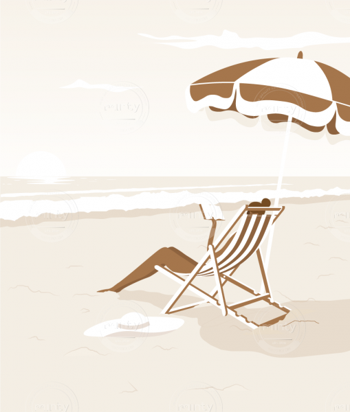 Woman on the beach, reading while relaxing under a sun umbrella.