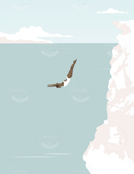 Woman diving off a cliff in the ocean. (Breathe magazine collaboration)