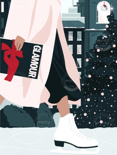 Woman ice skating, delivering a Glamour magazine as a Christmas present. (Glamour Magazine collaboration)