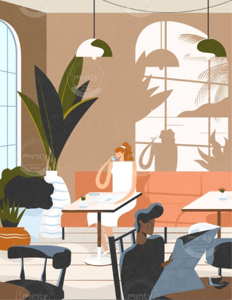 Man reading the newspaper and woman drinking her morning coffee while dreaming of an holiday and escaping the city. (Breathe magazine collaboration)