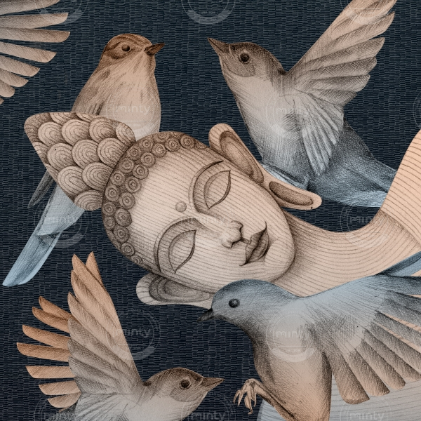 sleeping buddha with birds 1