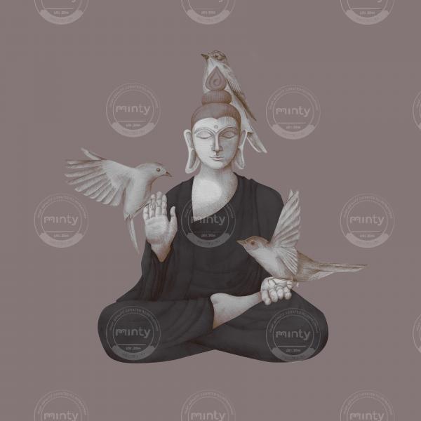 sitting buddha with birds 1