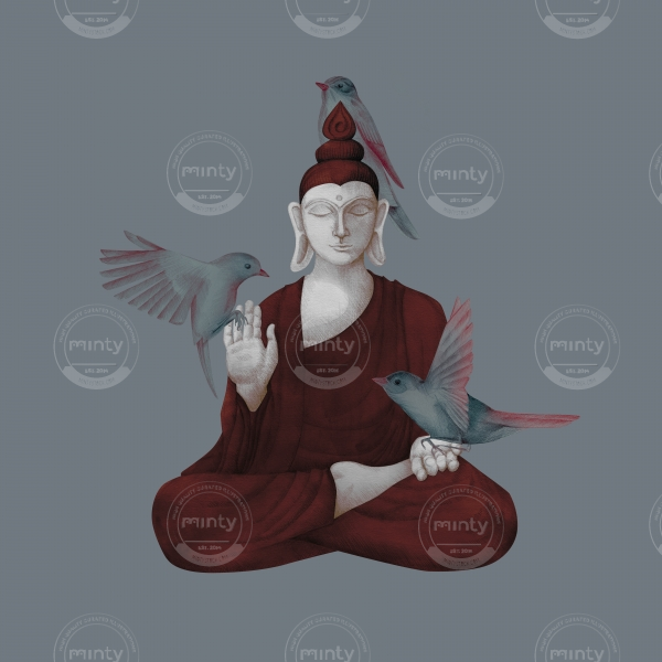 sitting buddha with birds 2
