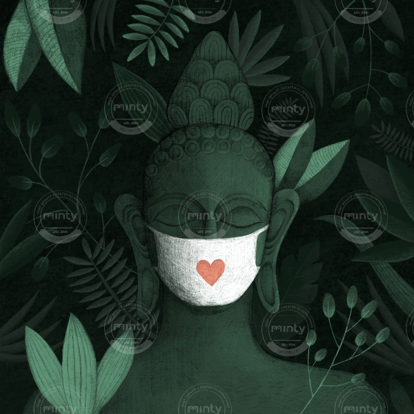 Buddha in green jungle with a face mask