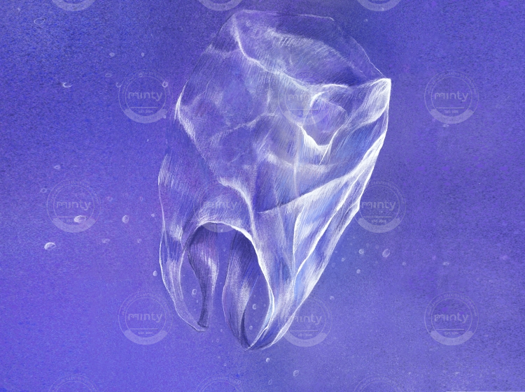 Plastic bag drifting in deep blue water