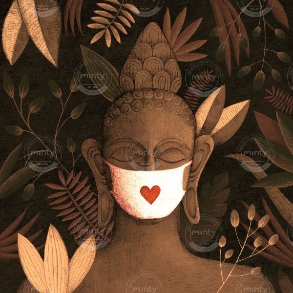 Buddha in brown jungle with a face mask