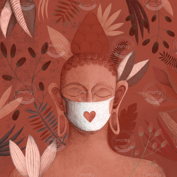 Buddha in pink jungle with a face mask
