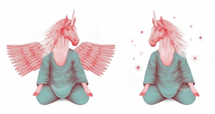 pink pegasus and unicorn meditating together
