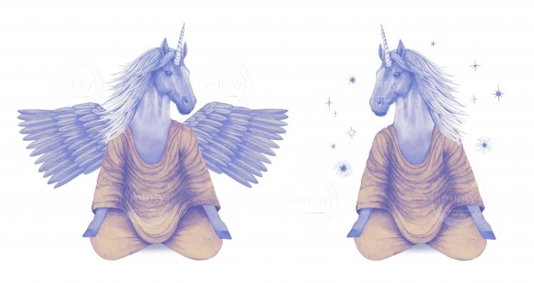 purple pegasus and unicorn meditating together
