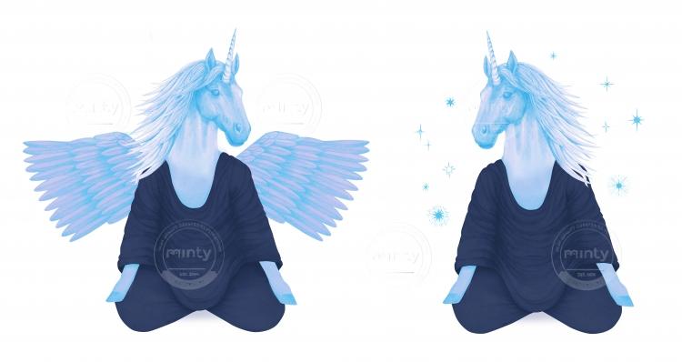 blue pegasus and unicorn meditating together