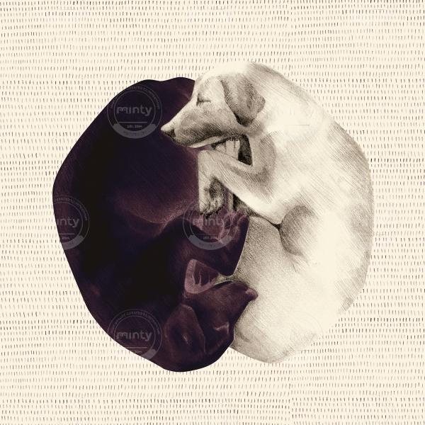 yin-yang dogs on light background