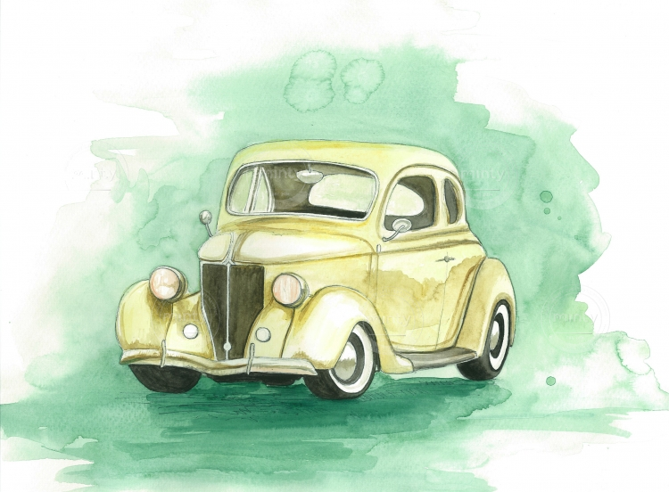 Ford DeLuxe, watercolour, A3, 2017