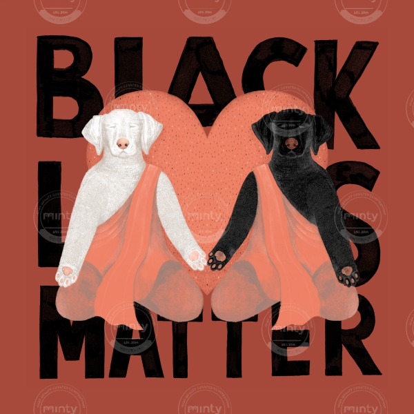 Black dog and a white dog in love, meditating and holding hands