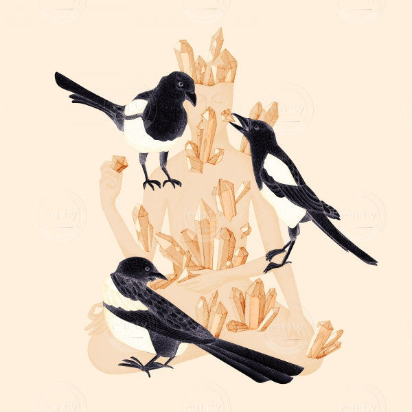 a person with gems with magpies