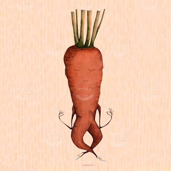 very zen carrot doing yoga