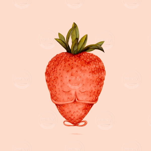 very zen strawberry doing yoga