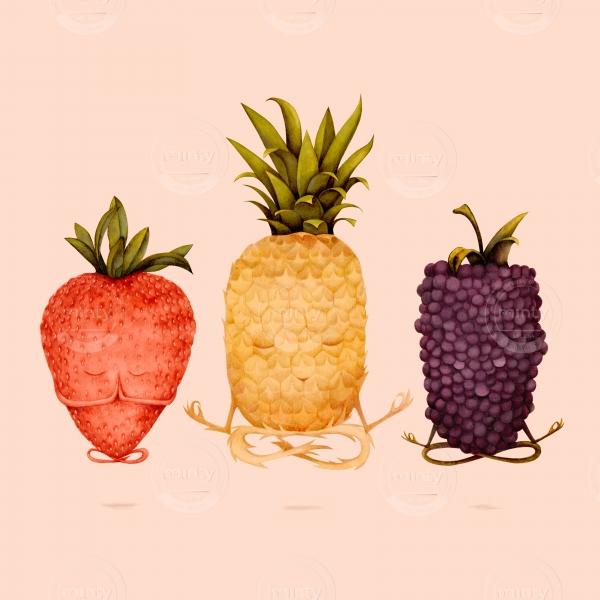 very zen fruit doing yoga