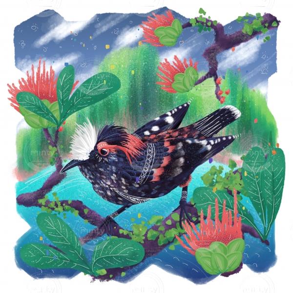 Akohekohe Hawaiian bird - endangered species series
