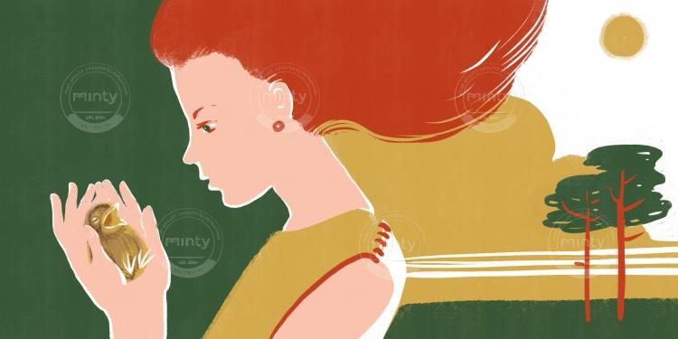 redhead girl with bird