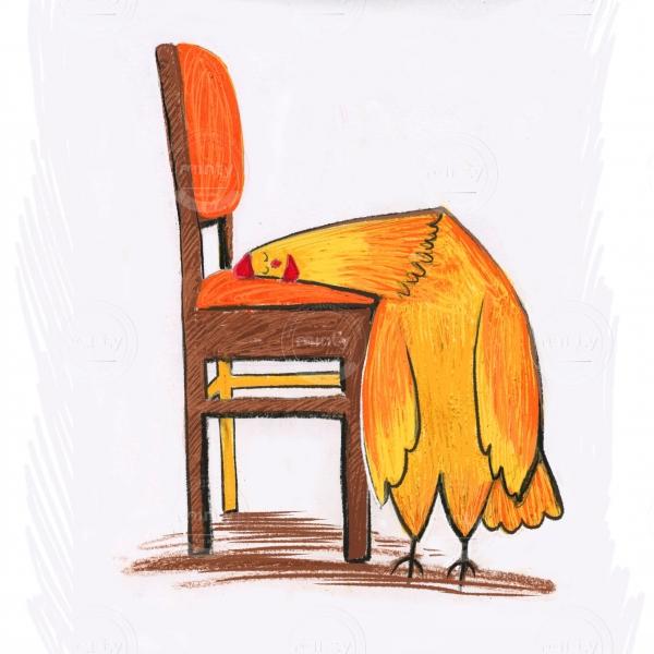 hen sleeping