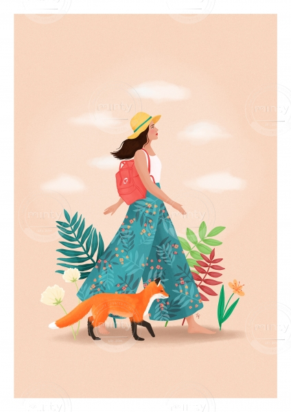 Girl walking with a fox in summer outfit