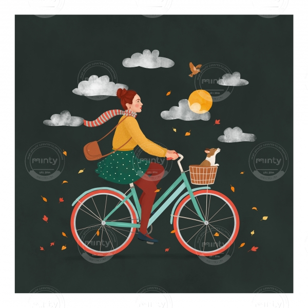 Girl riding a bike with her dog in autumn