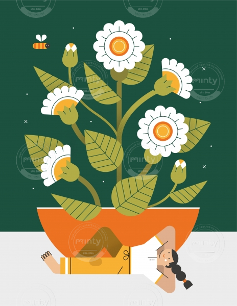 Girl doing a break and relaxing under a pot with flowers.