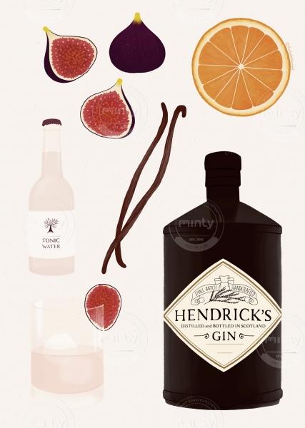 Gin cocktail illustration