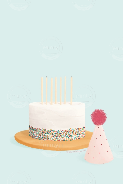 Cake and party hat