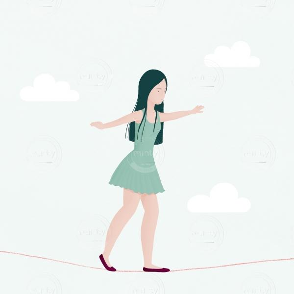 tightrope walker illustration
