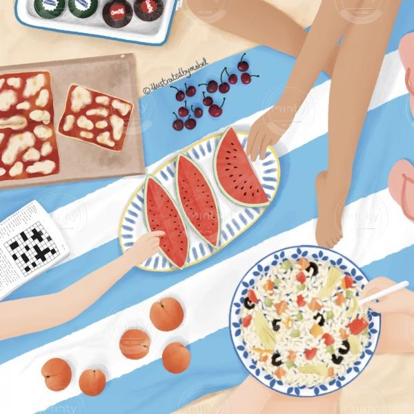 Summer picnic illustration
