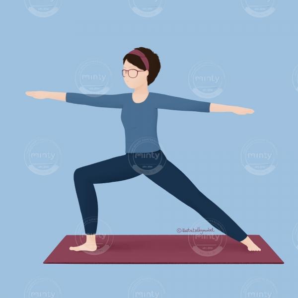 yoga illustration_virabhadrasana 2