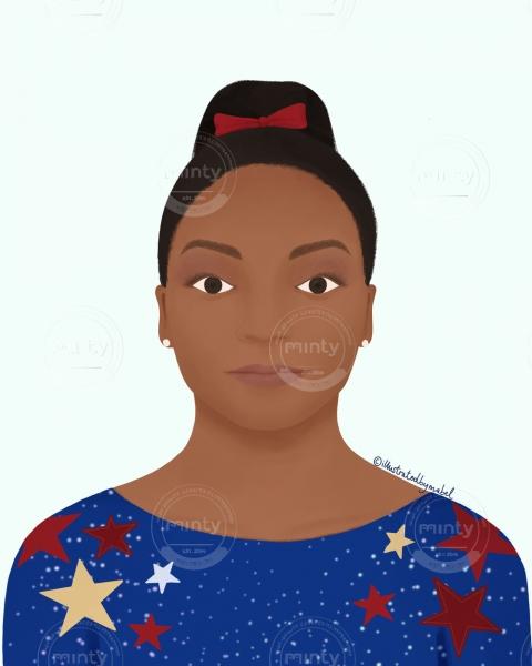 Simone Biles illustration portrait