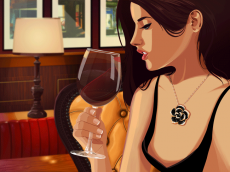 Woman swirling wine in a glass.gif