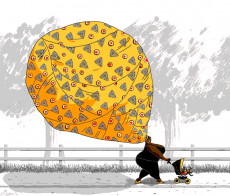 A oriental woman is walking with her baby in the big orange hair dress.gif