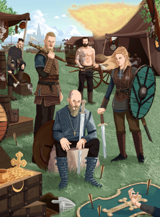 The Vikings characters in Paris.gif