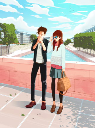A fashion couple in Paris.gif