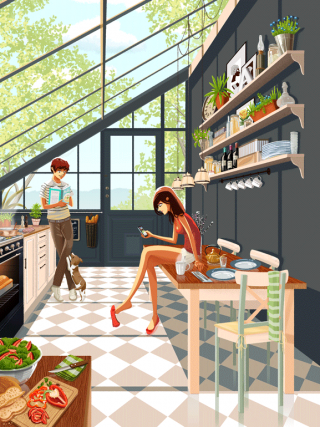 A couple and a dog in a kitchen.gif