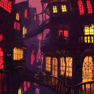 Dark city street filled with hidden monsters