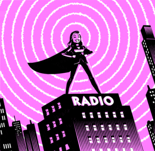 Comic Superhero Woman on Radio Tower, editorial spot illustration animated GIF