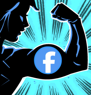 Facebook Comic Social Media Superhero, animated GIF editorial spot illustration