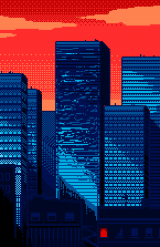 New York City Pixelated in Sunset