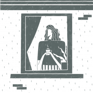 Girl drinking coffee in front of her window on a rainy November day.gif