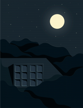 Woman switching on the moon from her bedroom window, on a summer starry night..gif