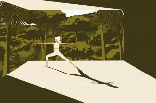 Woman practicing yoga, enjoying nature..gif