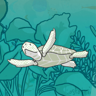 Loggerhead turtle gif loop with sea tortoise on a green ocean background