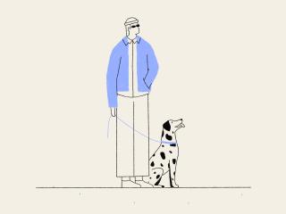 Man enjoys sun with his Dalmatian dog
