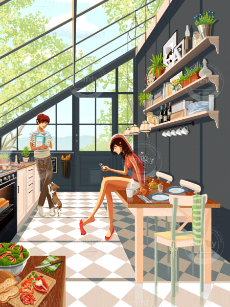 A couple and a dog in a kitchen