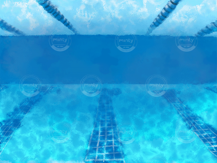 The white cat in the swim cap and swim glass is diving into the pool